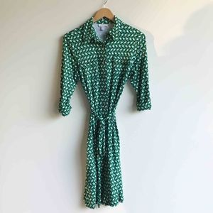 Charter Club Green Button Up Collared Wrap Dress
